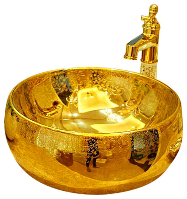 Lenox Golden Patterned Countertop Ceramic Bathroom Sink Washbasin.