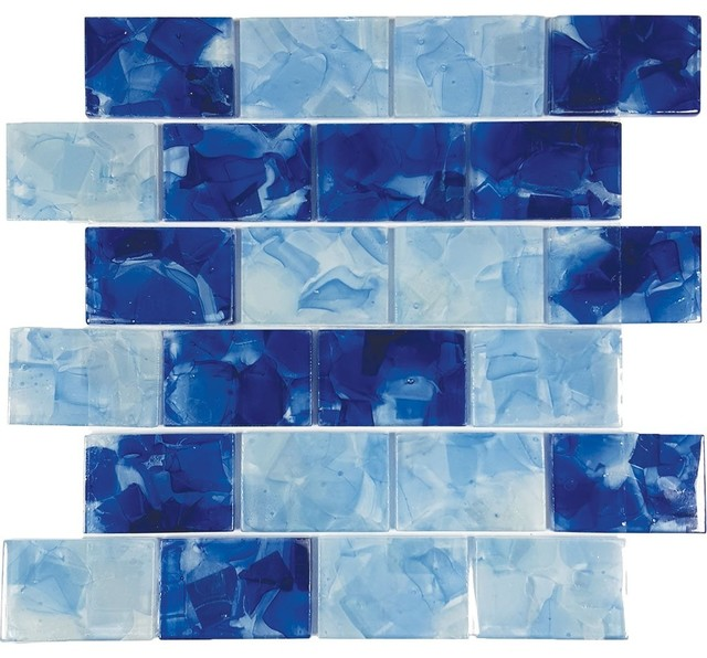 "Pool Blend, 2""x3"", Glass Tile."