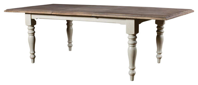 French Country Reclaimed Solid Wood Rectangular Dining Table With Butterfly Leaf Traditional Tables