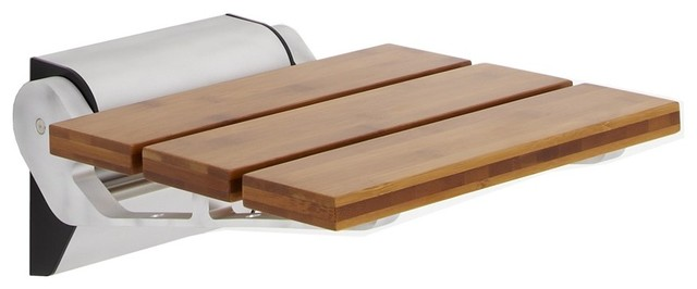 Hudson Reed - Bamboo Narrow Base Folding Shower Seat & Reviews | Houzz
