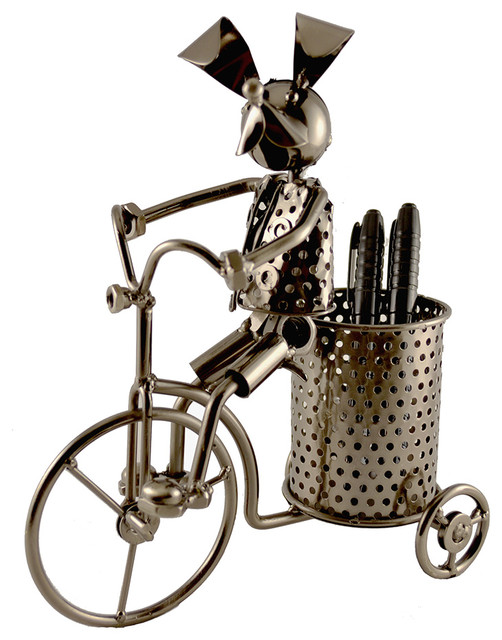 Metal Dog On Tricycle Pen Pencil Holder Character.