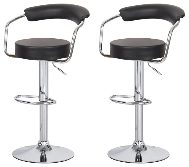 Swivel Adjustable Bar Stools Set Of 2 Contemporary