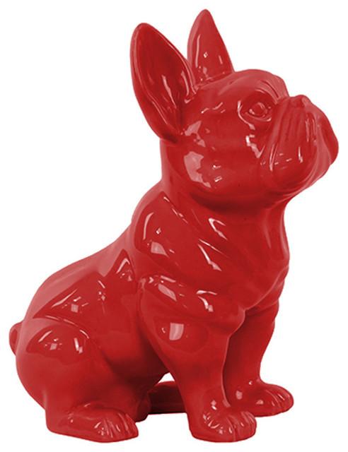 Ceramic Sitting French Bulldog Figurine Contemporary