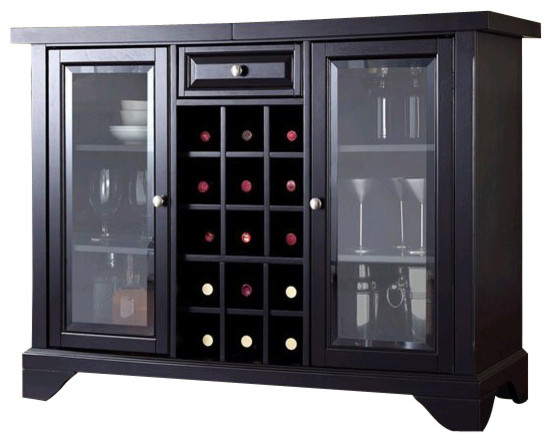 Wonderful Crosley LaFayette Sliding Top Bar Cabinet In Black Transitional Wine And Bar