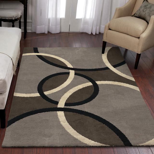 Utopia Magic Rings Area Rug, Gray, 7&x27;10x10&x27;10.