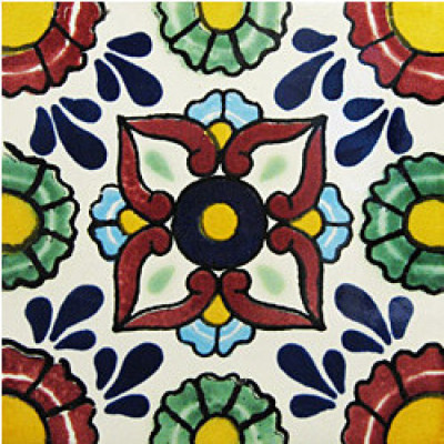 4.2x4.2 9 pcs Pergolese Talavera Mexican Tile by Fine Crafts & Imports