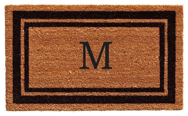Black Border 18x30 Monogram Doormat, Letter M.