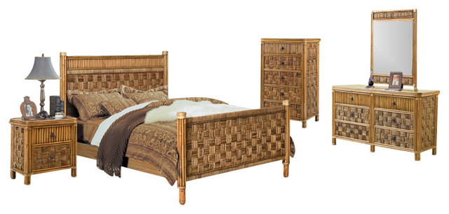 Tahiti 5 Piece Rattan and Wicker Tropical Bedroom Set - Tropical ...