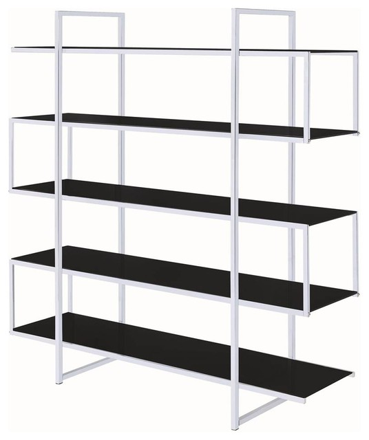 4-Tier Contemporary Bookcase, Black.