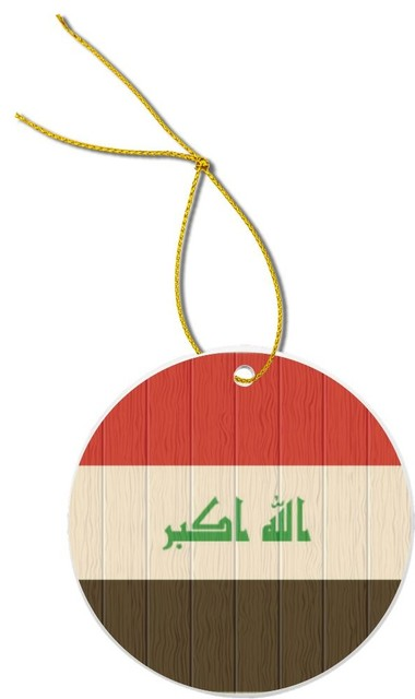 Iraq Flag On Distressed Wood Design Round Porcelain Christmas Ornament