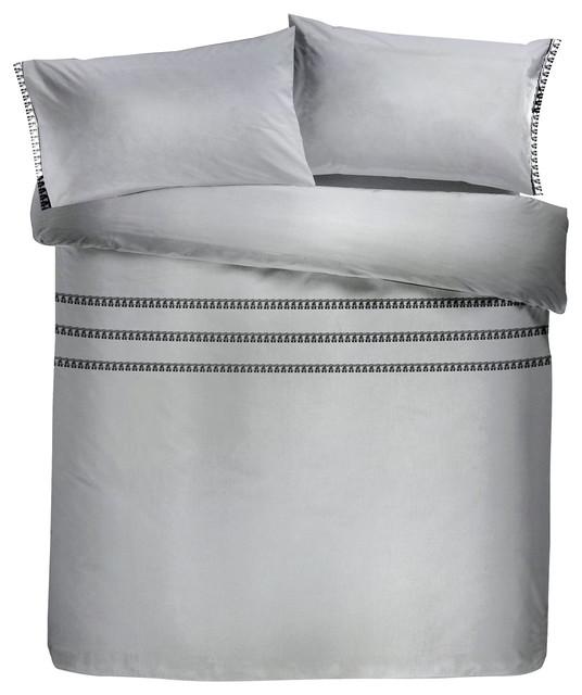 Tassels Easy Care Duvet Cover Set, Grey, King