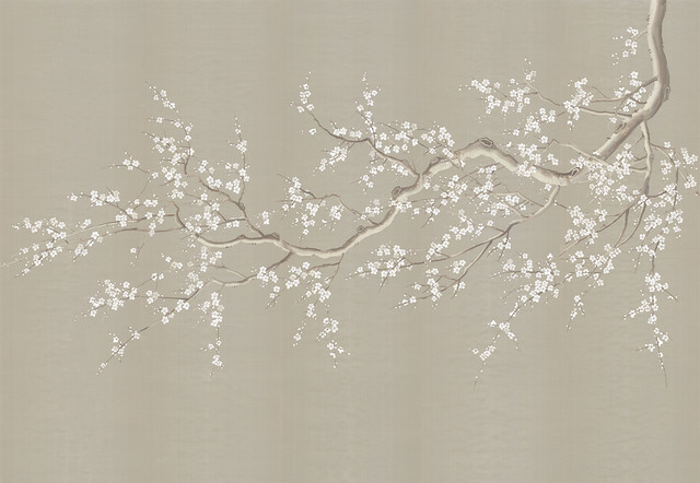 Chinoiserie Wall Mural Cherry Blossoms, Beige, Full Size Asian Wallpaper Part 90