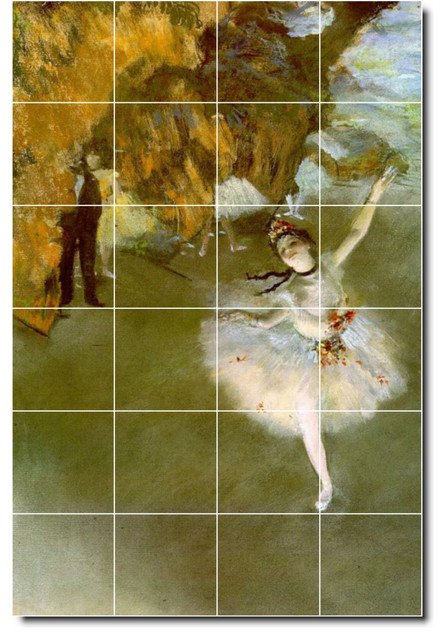Edgar degas dancers painting ceramic tile mural 14 for Ceramic mural painting