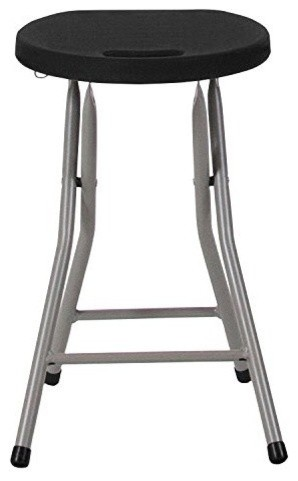Foldable Stool With Black Plastic Seat And Titanium Frame.