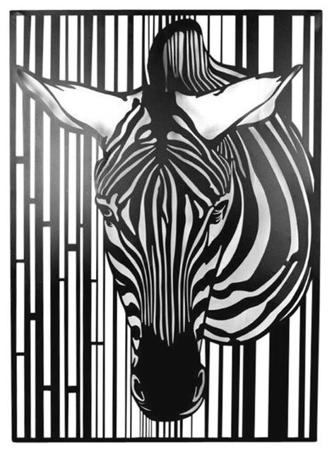 Sagebrook Home Black Metal Zebra Wall Decor Art