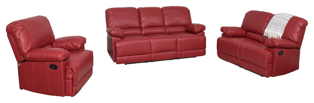 Corliving Lea 3-Piece Red Bonded Leather Reclining Sofa Set.