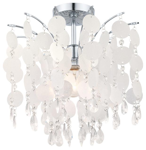 1x100w Ceiling Light, Chrome Finish & Glitter Teflon Glass & Crystals.