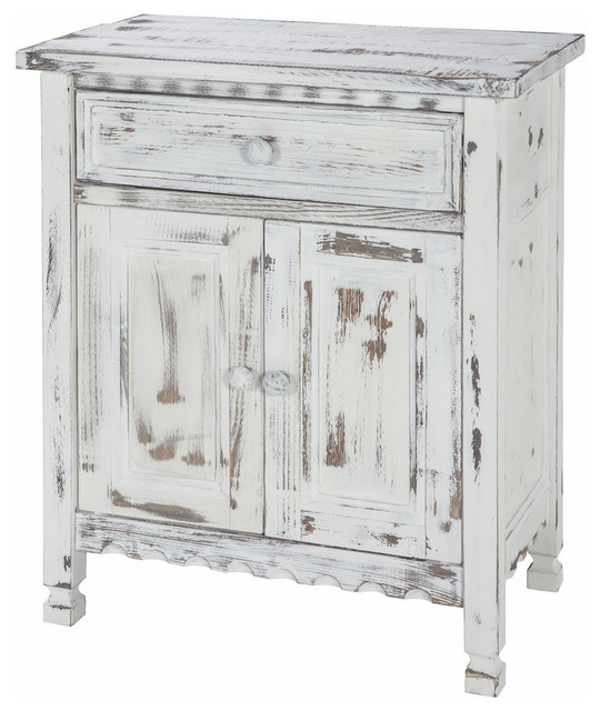 Country Cottage Accent Cabinet, White Antique.