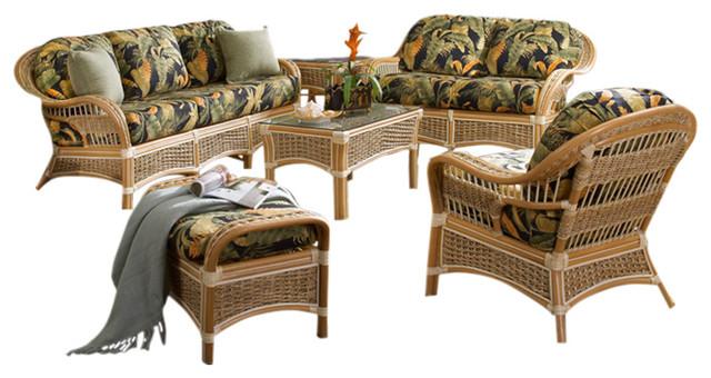 Islander 6-Piece Living Room Furniture Set in Natural, Moserratt Surf Fabric