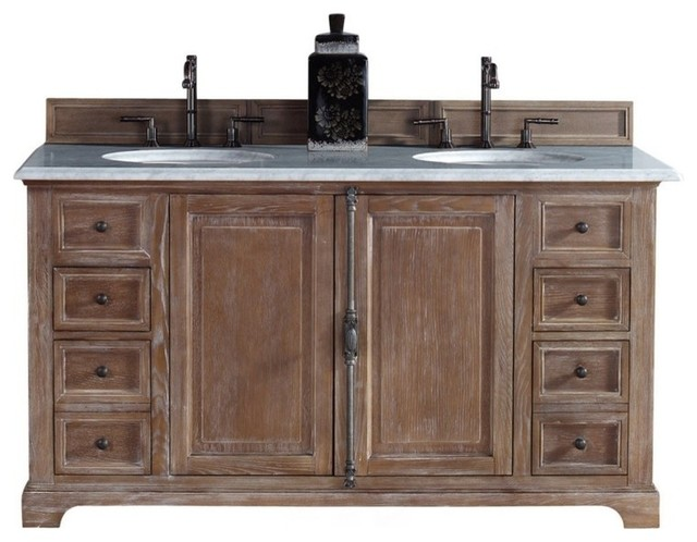 "60"" Double Vanity Cabinet, Driftwood, No Counter Top"