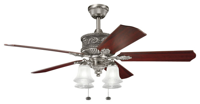 Kichler 4 light fan antique pewter victorian ceiling fans by whitmer 39 s lighting - Victorian ceiling fans with lights ...