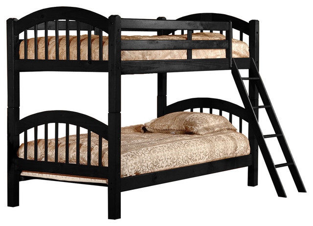 Wood Twin-Over-Twin Bunkbed, Black.