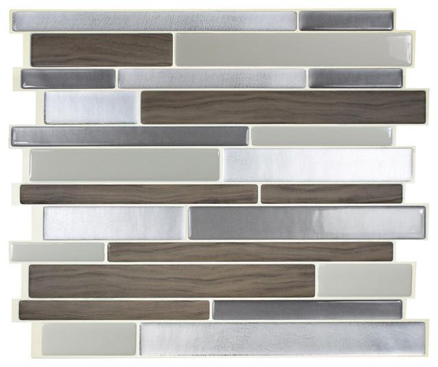 11.55''x9.63'' Milano Argento Peel/Stick 3D Gel-O Wall Tiles Mosaik, Set of 4