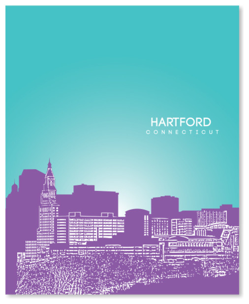 Hartford Connecticut Skyline Poster Contemporary Prints And Posters By You Yoursprints