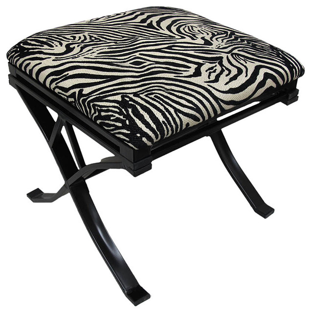 Chenille Zebra Print Padded Vanity Stool Black Finish ...
