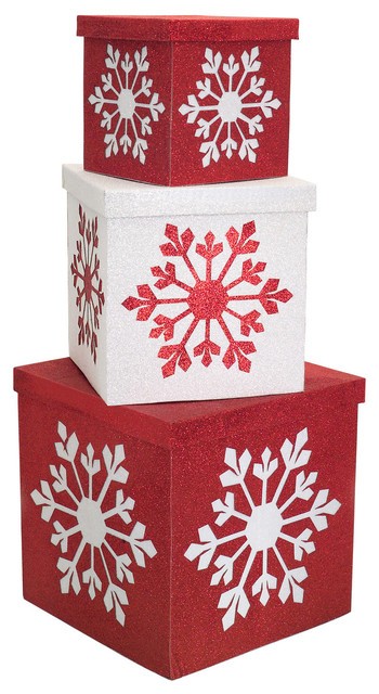 Sub zero collection stackable snowflake gift boxes