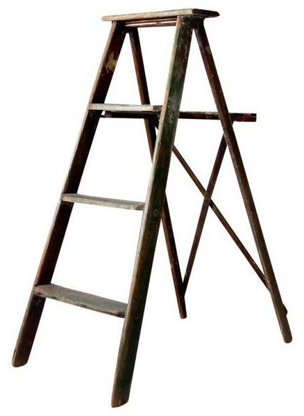 Consigned, Vintage Green Wood Ladder