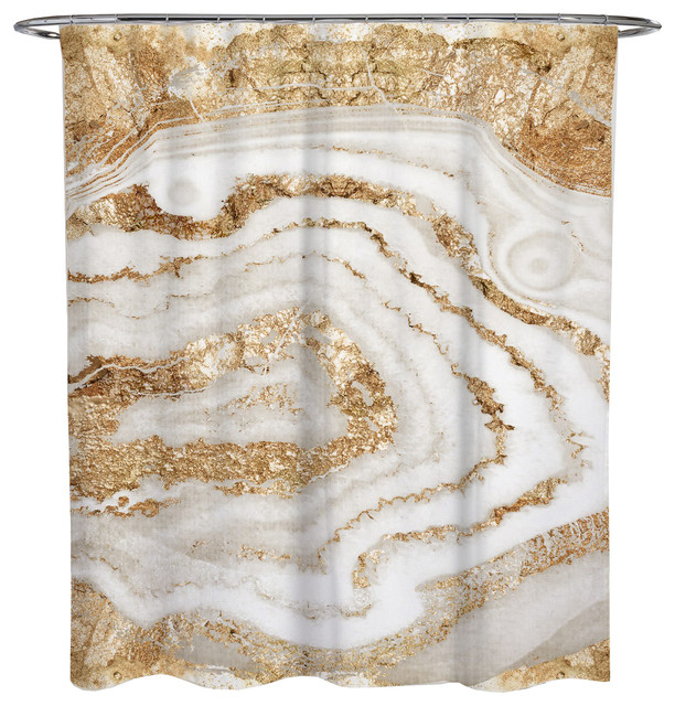 Oliver Gal Gold Agate Shower Curtain