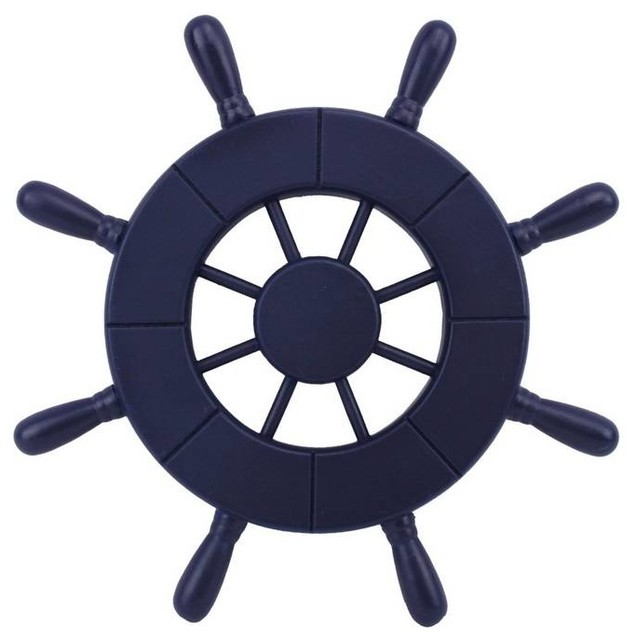 Dark Blue Decorative Ship Wheel 9u0026#39;u0026#39;, Wooden Ships Wheel, Boat Steering Wheel - Beach Style ...