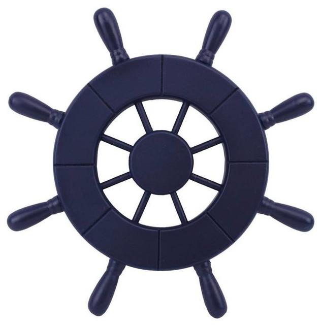 Dark Blue Decorative Ship Wheel 9 Wooden Ships Wheel