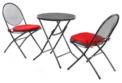 3 Piece Gray Steel Mesh Metal Patio Furniture Set With Red Cushions Contemporary Outdoor Dining Sets By Yourgardenstop