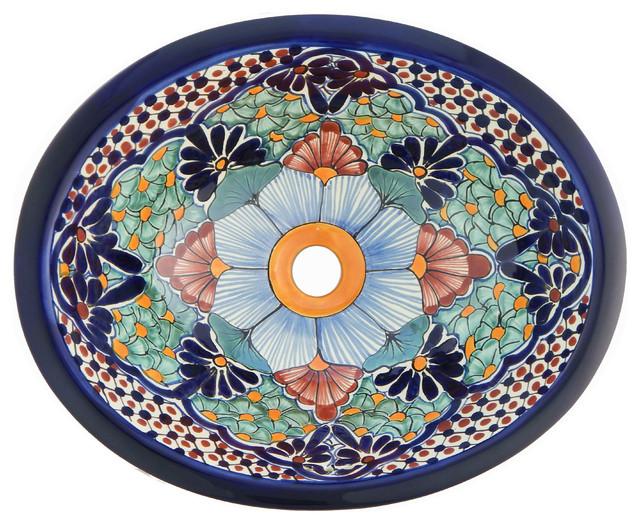 Mexican Talavera Ceramic Hand Painted Bathroom Oval Sink