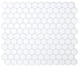 "11.26""x9.63"" Hexago Peel and Stick 3D Gel-O Wall Tiles Mosaik, Set of 1"