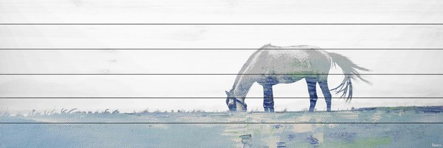 """""""distant Horse Grazing"""" Painting Print On White Wood, 60""""x20""""."""