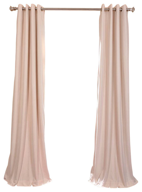 Signature Ivory Grommet Blackout Velvet Curtain Single Panel, 50x84.