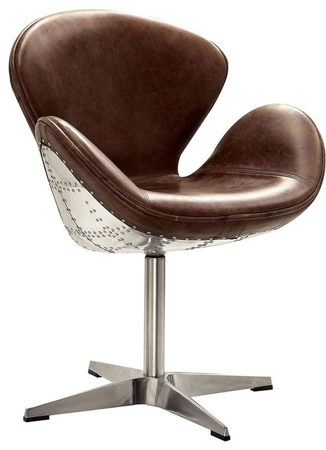 Tremendous Acme Brancaster Accent Chair Swivel Retro Brown And Aluminum Theyellowbook Wood Chair Design Ideas Theyellowbookinfo