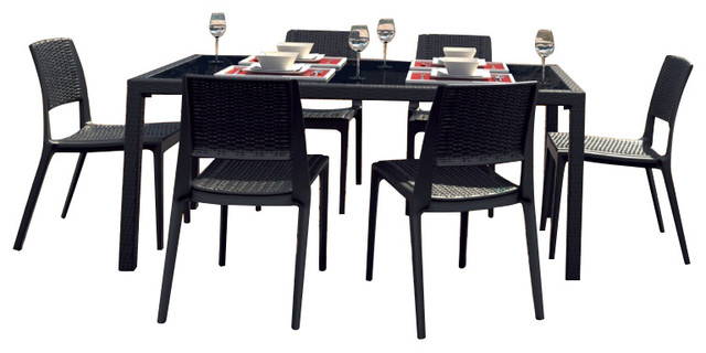 Miami Wickerlook Rectangle Dining Set 7 Piece Brown With Side Chairs