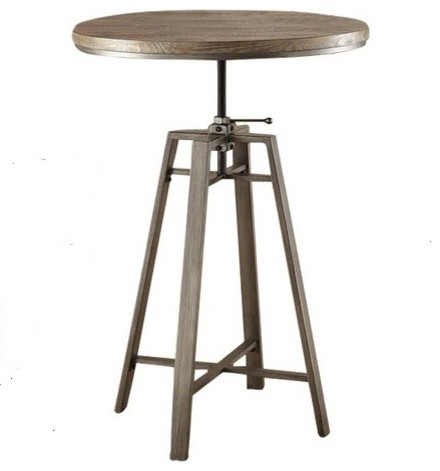 Industrial Adjustable Bar Table, Nutmeg With Wire Brushed Detail.