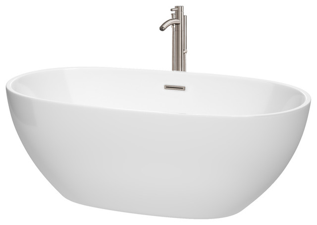 "Freestanding Bathtub, Drain, Overflow Trim, Brushed Nickel Faucet, White, 63""."