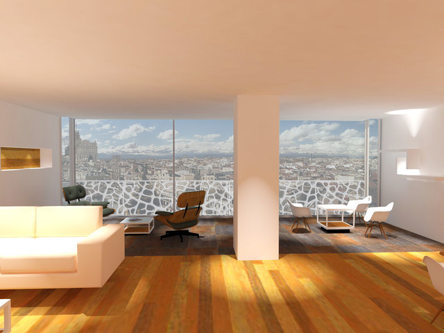 This is an example of a large contemporary terrace and balcony in Madrid.