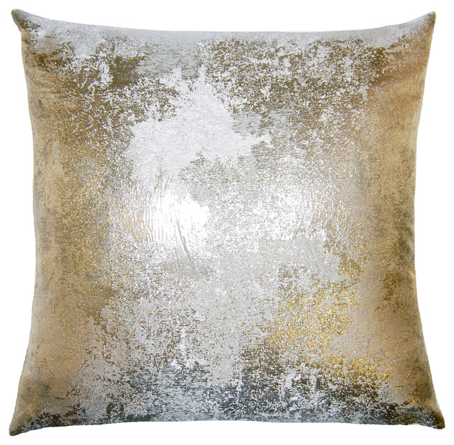 Nebula Pillow Antiqued Silver Contemporary Decorative