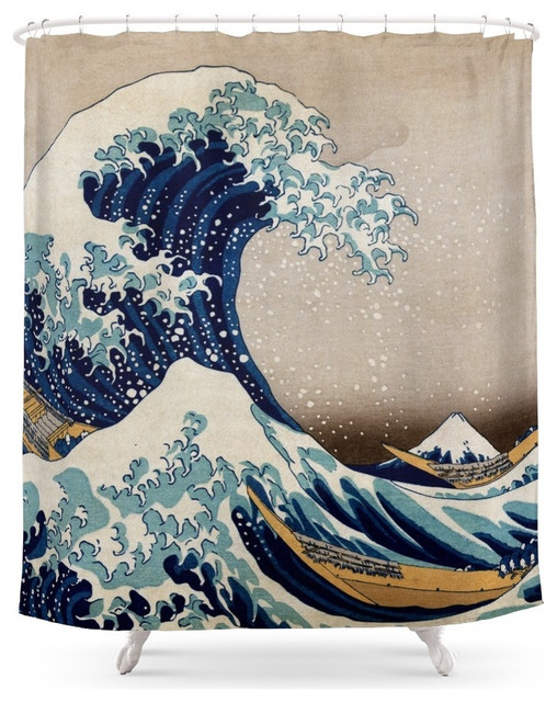 society6 under the great wavehokusai shower curtain