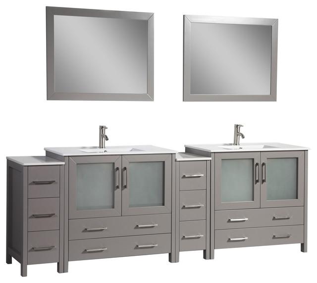 "96"" Single Sink Vanity Set With Ceramic Top, Gray."
