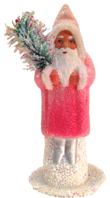 Schaller Paper Mache Candy Container, Santa Rose Coat With Glitter.