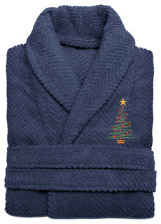Herringbone Weave Embroidered X-Mas Tree Bathrobe, Midnight Blue, Large/XLarge