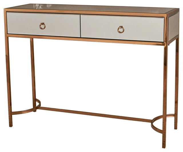 Two Drawer Mirrored Console Table